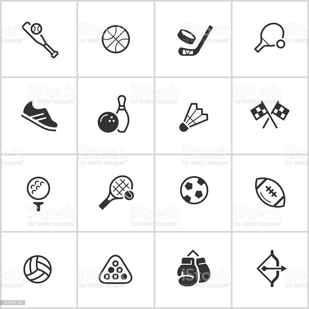 Sports & Athletics Icons — Inky Series vector art illustration