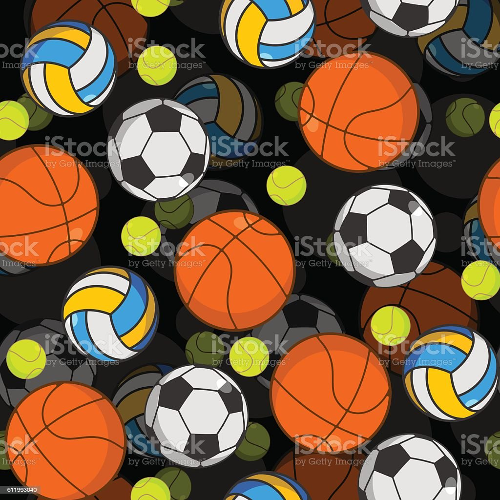 Sports ball 3d seamless pattern. Balls decoration. Basketball and...