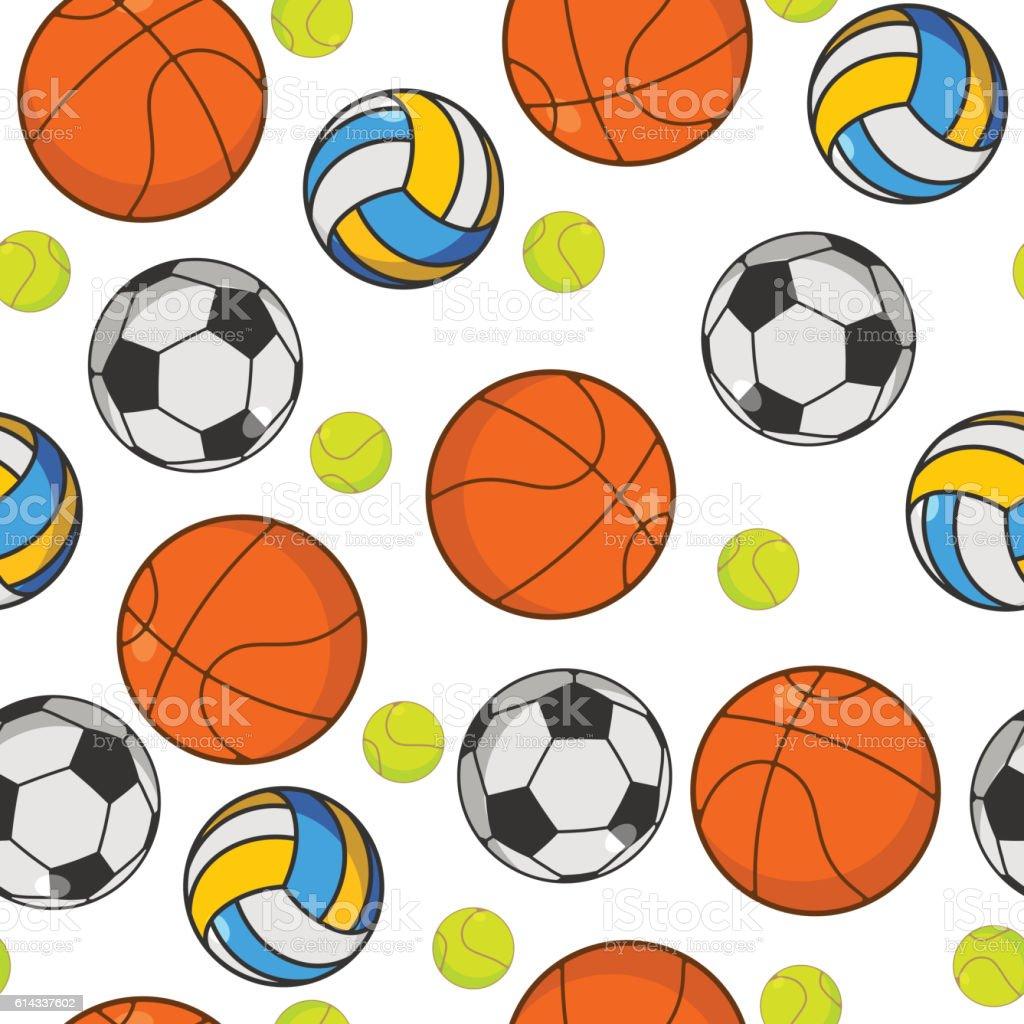 Sports ball seamless pattern. Balls ornament. Basketball and...