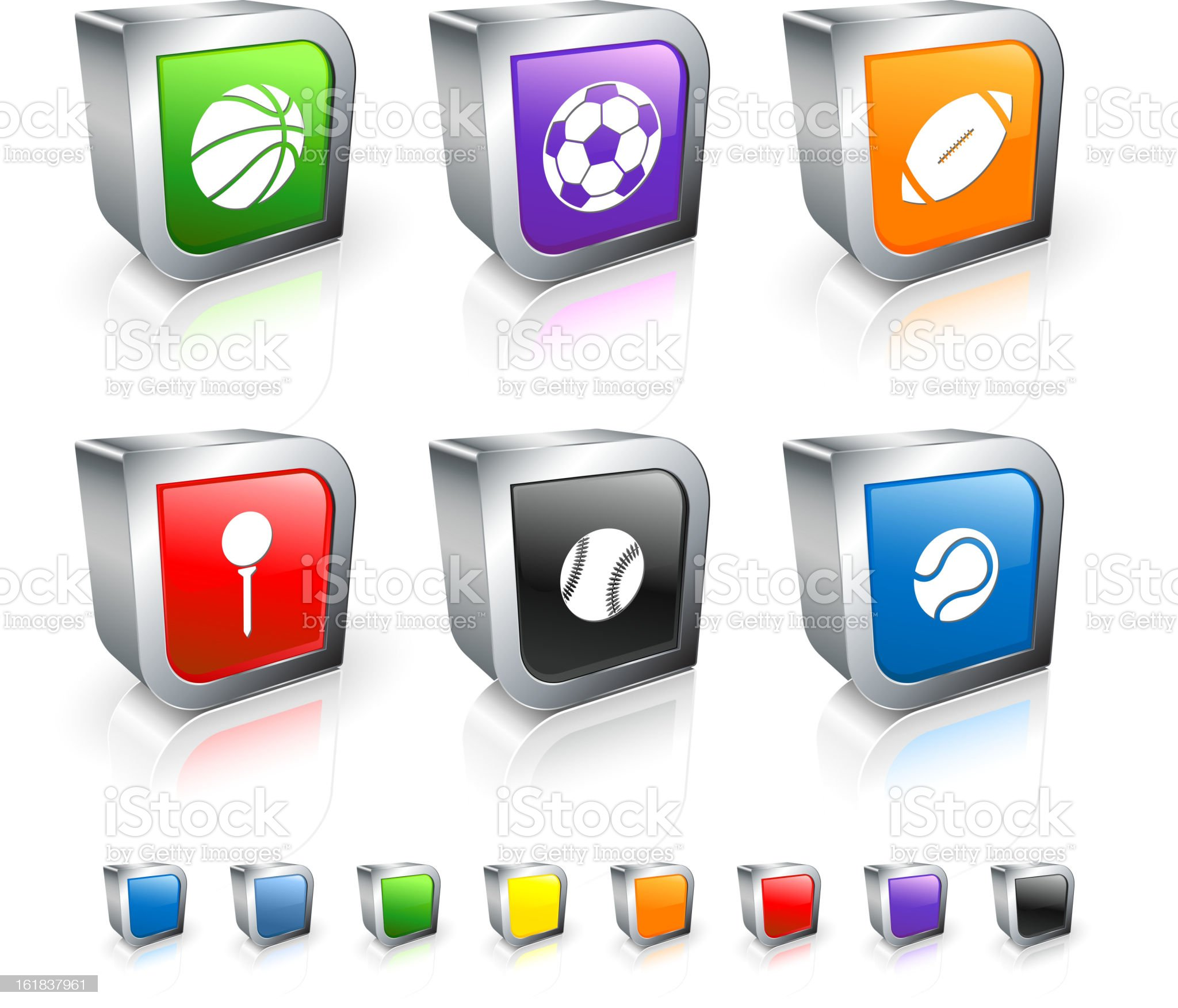 Sports Balls 3D vector icon set with Metal Rim royalty-free stock vector art