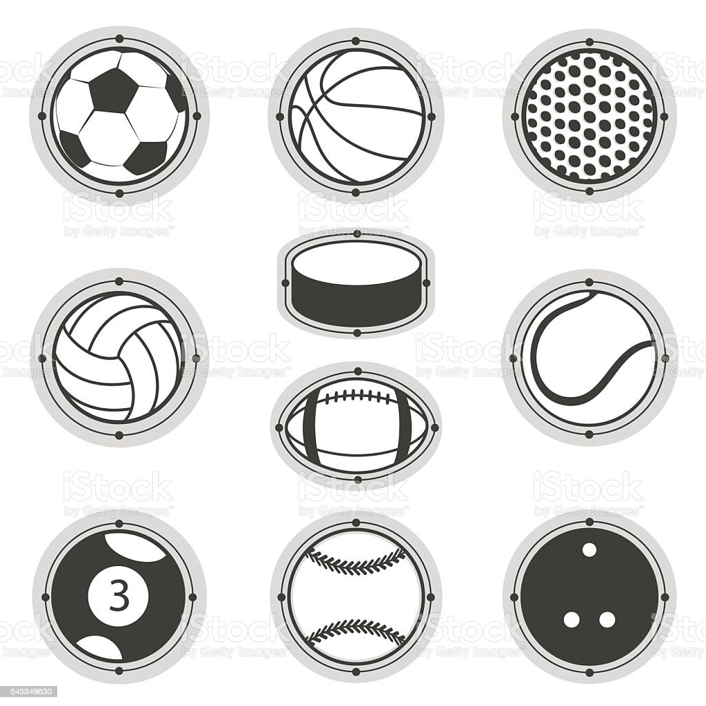 Sports Balls. Football, basketball, golf, volleyball, hockey american...