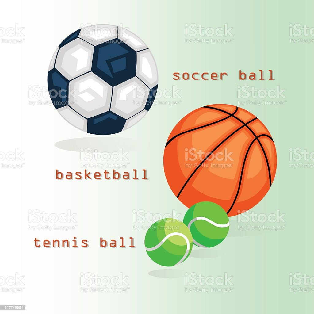 Sports balls. Football, basketball, tennis. The text and shadows on...