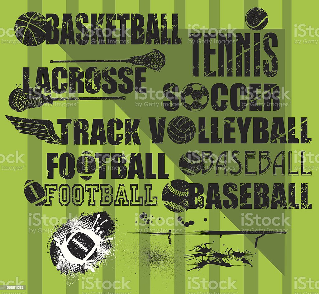 Sports Balls, Grunge Type with Splatters royalty-free stock vector art