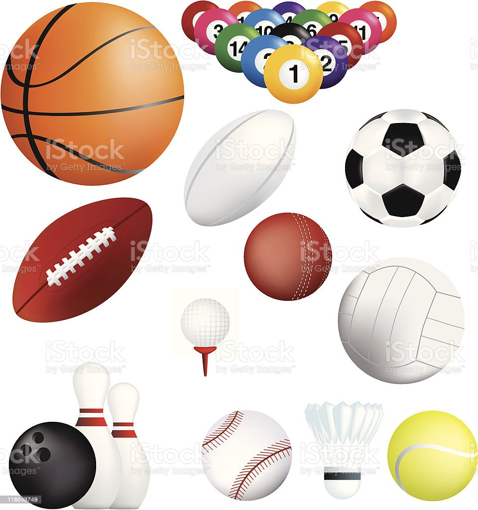 Sport Bälle icon-set Lizenzfreies vektor illustration