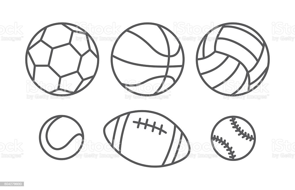 Sports balls in linear style vector art illustration