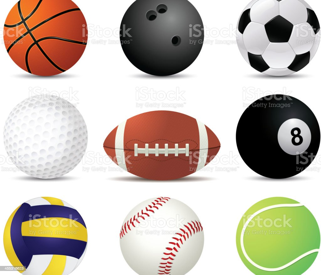 Sports balls of nine different sports vector art illustration
