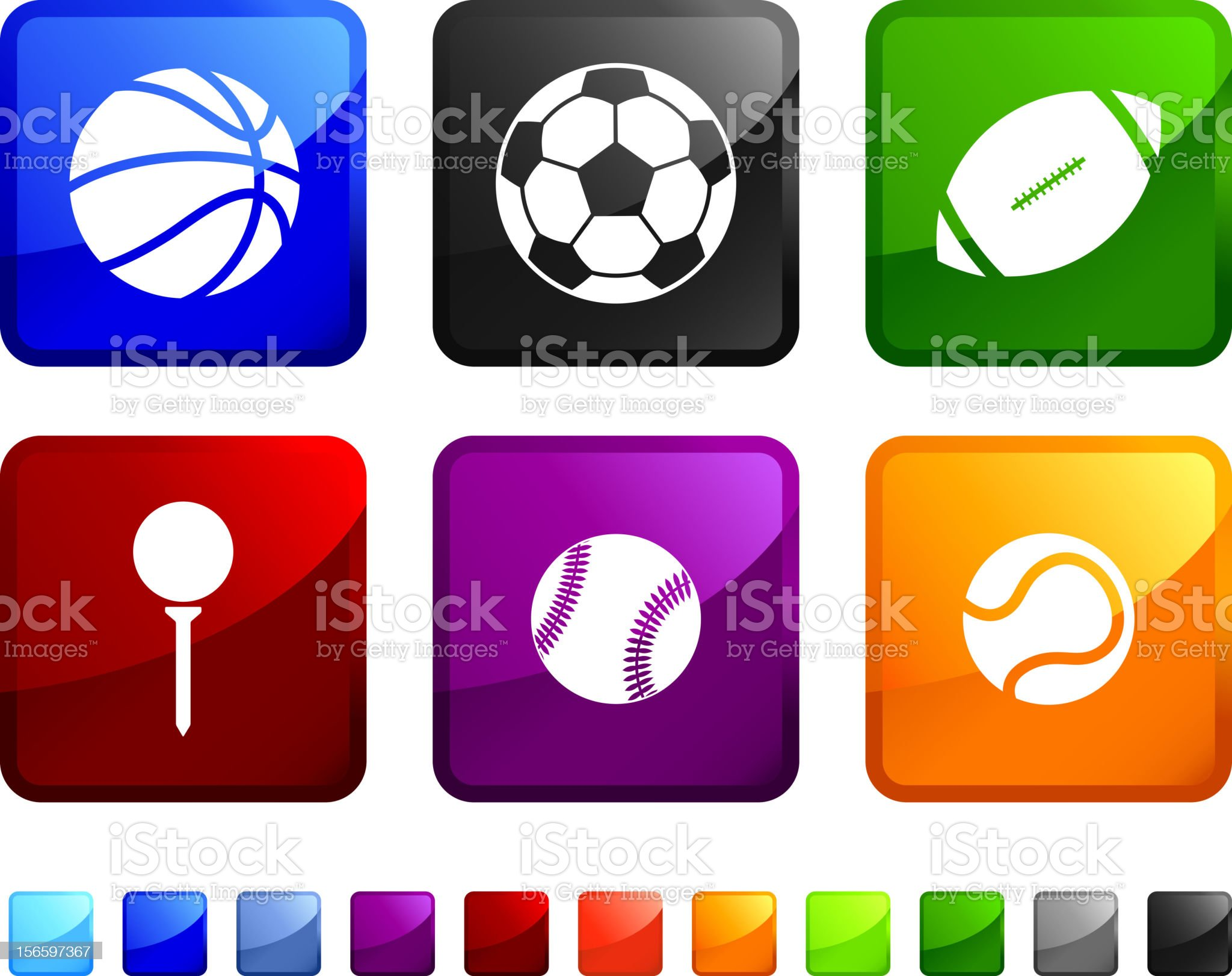 Sports Balls royalty free vector icon set stickers royalty-free stock vector art