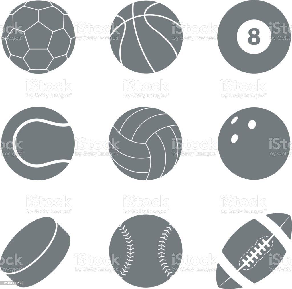 Sports balls set. Silhouettes of balls. vector art illustration