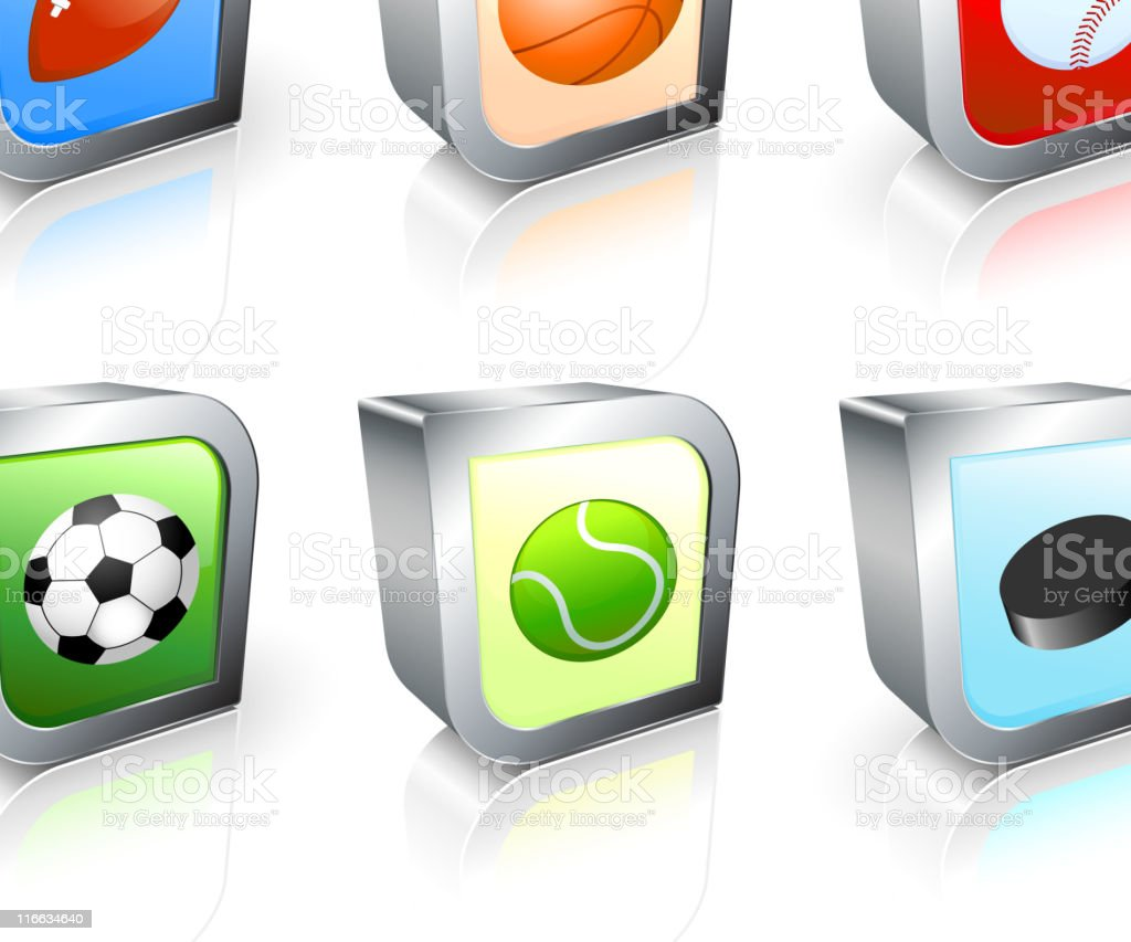 Sports balls square royalty free vector icon set royalty-free stock vector art