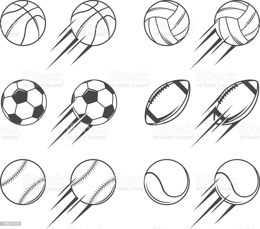Sports balls vector art illustration