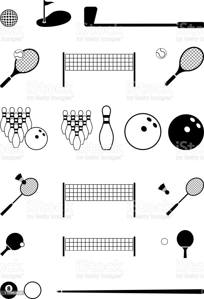 sports black and white royalty free vector icon set royalty-free stock vector art