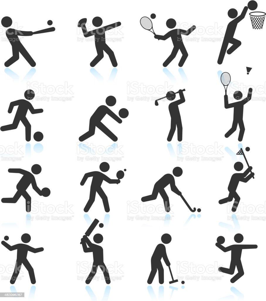 Sports black & white royalty free vector icon set vector art illustration