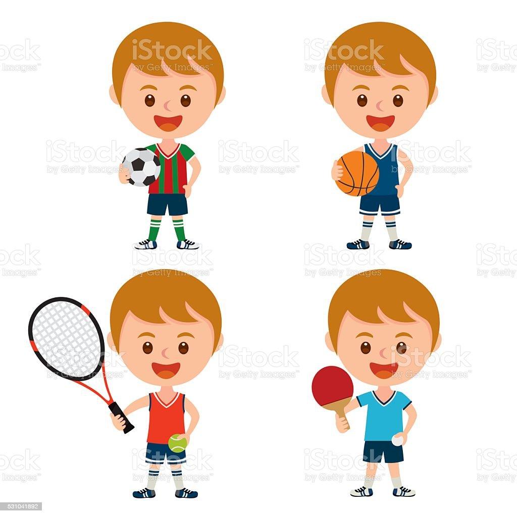 sports boy vector art illustration