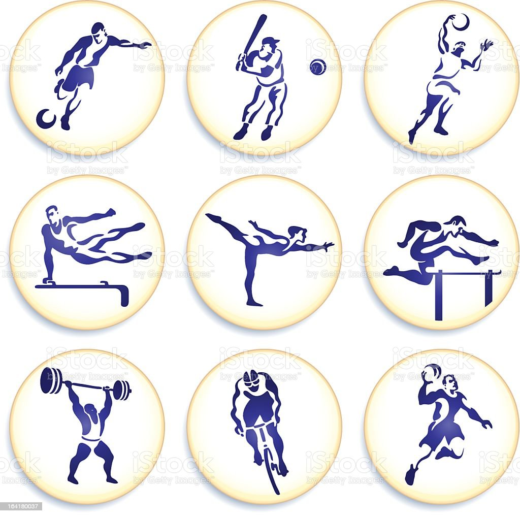 Sports buttons collection vector art illustration