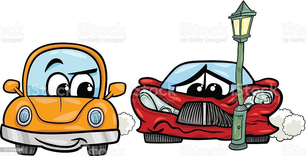 sports car crashed cartoon illustration vector art illustration