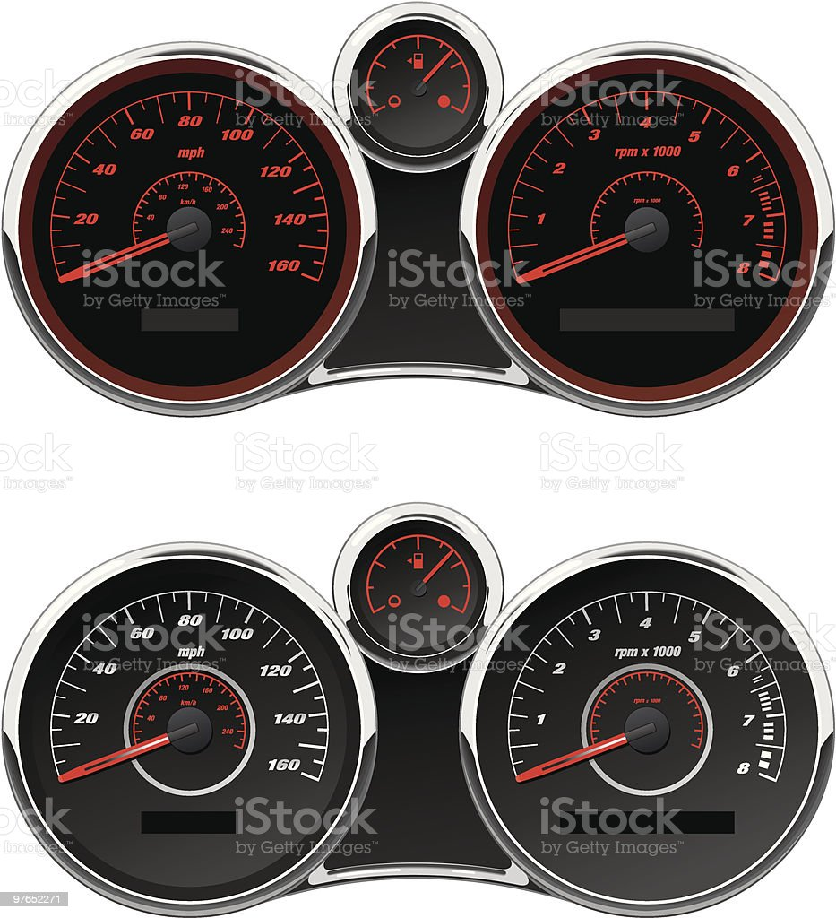 Sports Car Gauge Set royalty-free stock vector art