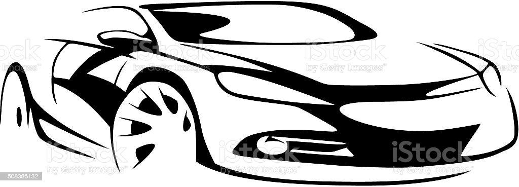 Sports car silhouette vector art illustration