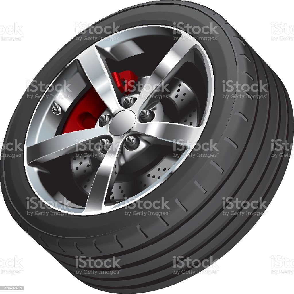 Sports car wheel vector art illustration