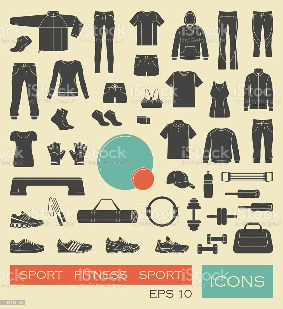 Sports clothing, equipment and accessories vector art illustration