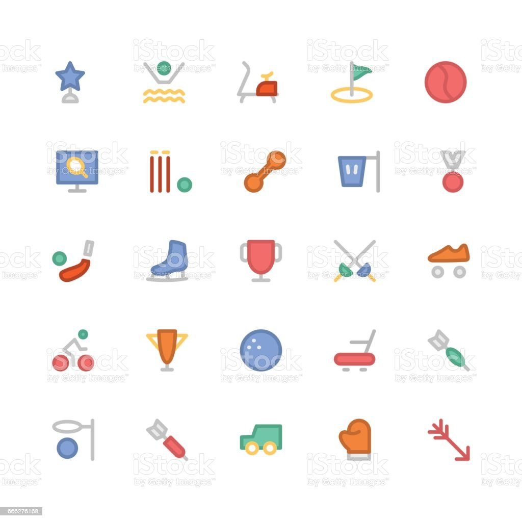 Sports Colored Vector Icons 9 vector art illustration