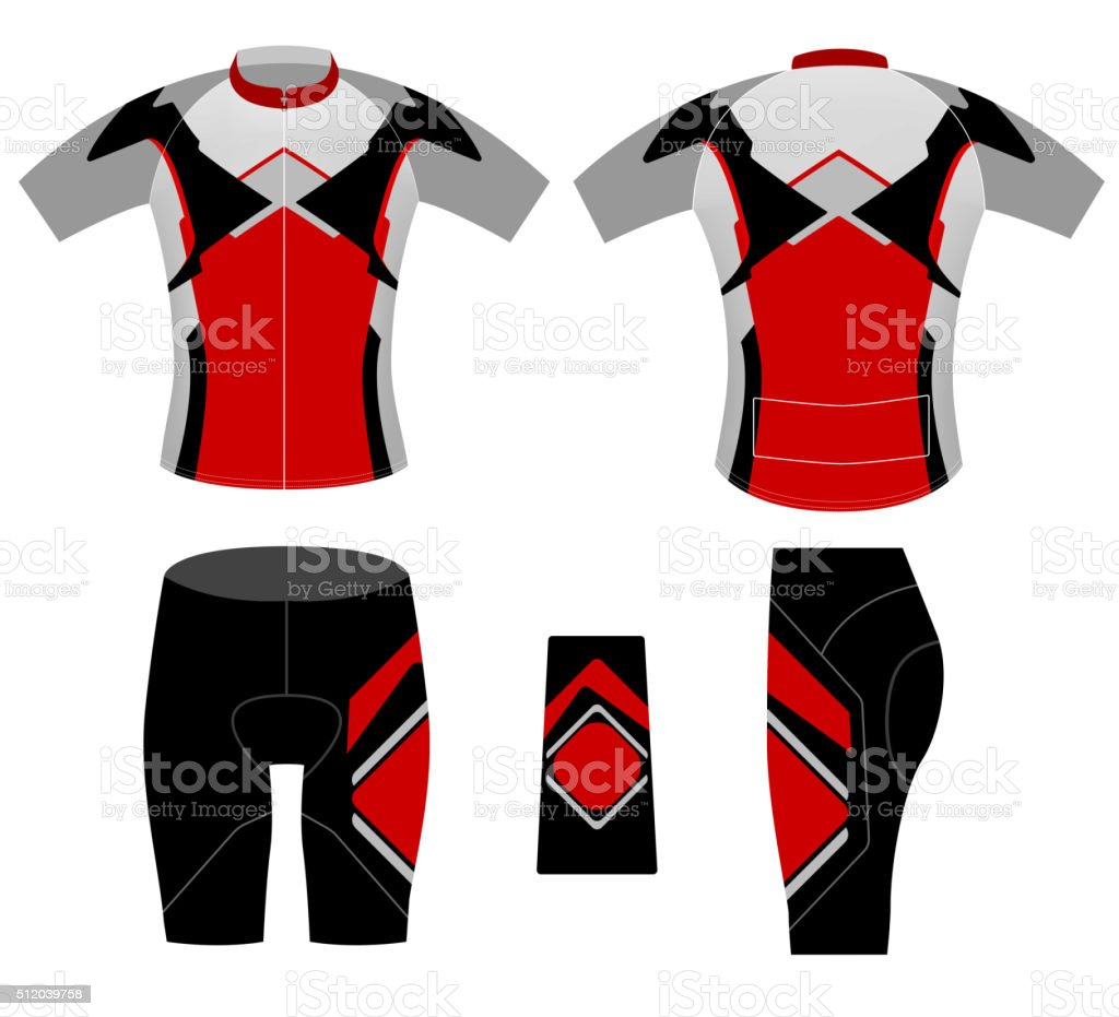 Sports cycling clothing vector art illustration