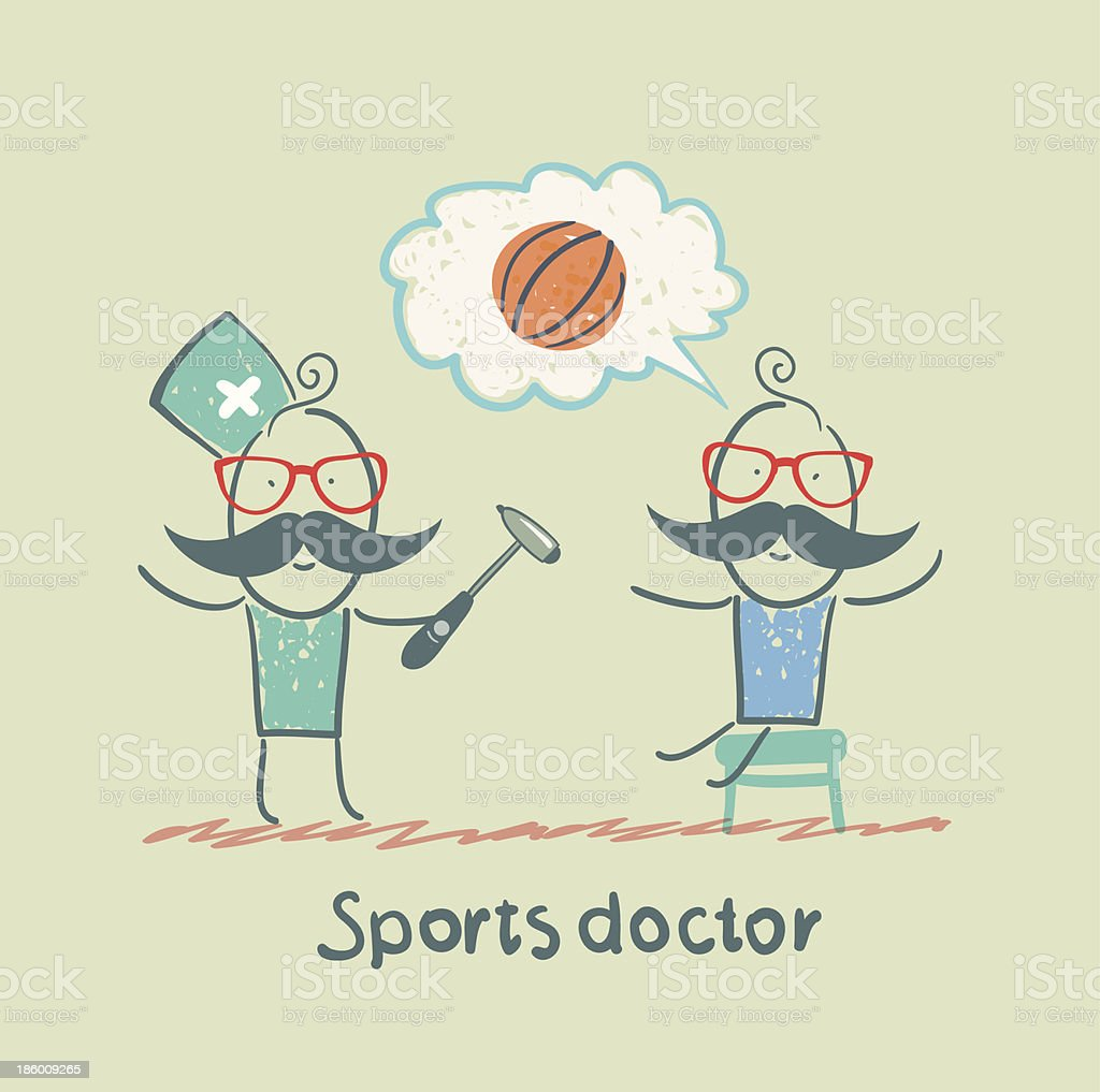 Sports doctor checking the reflexes of an athlete royalty-free stock vector art