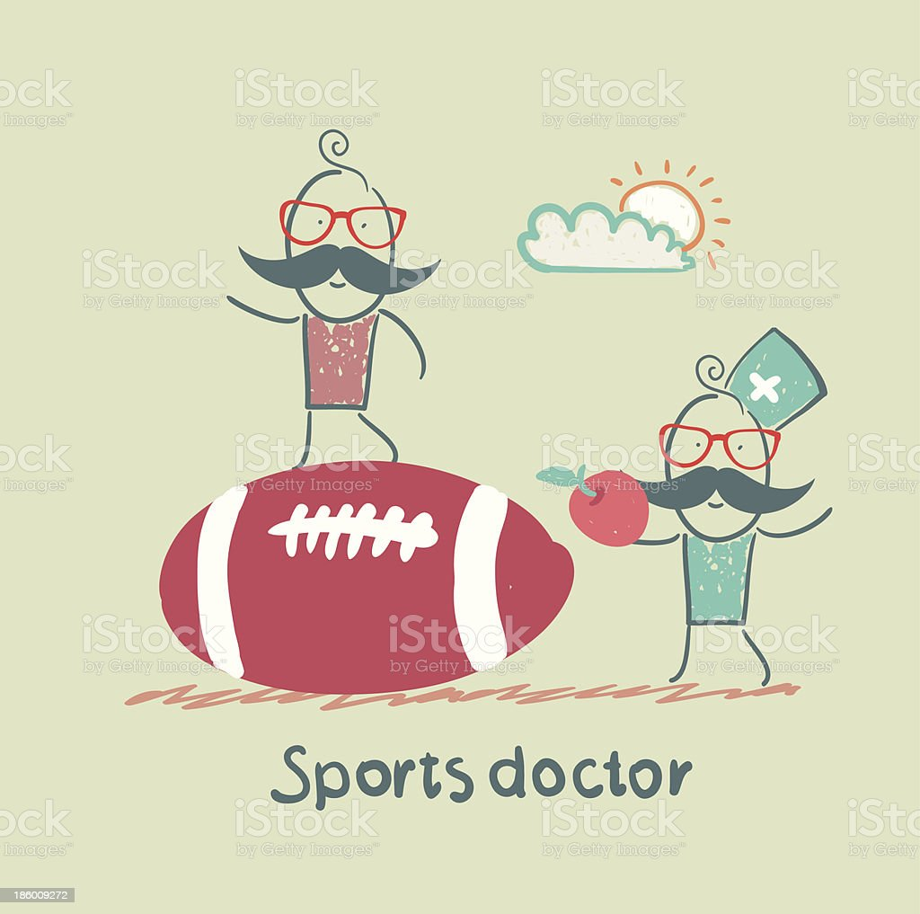 Sports doctor giving an apple to the person royalty-free stock vector art