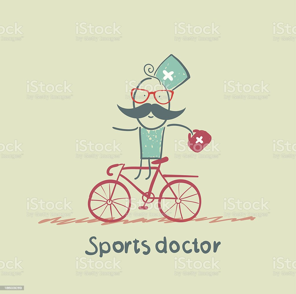 Sports doctor rides a bicycle royalty-free stock vector art