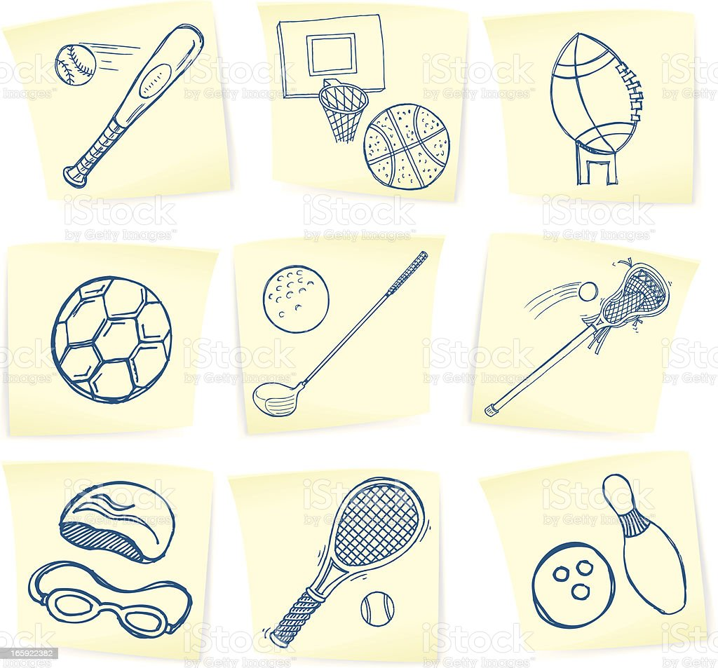 Sports Doodles on Sticky Notes royalty-free stock vector art