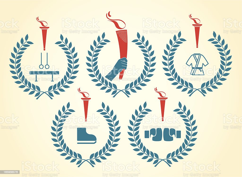 Olympic sports emblems vector art illustration