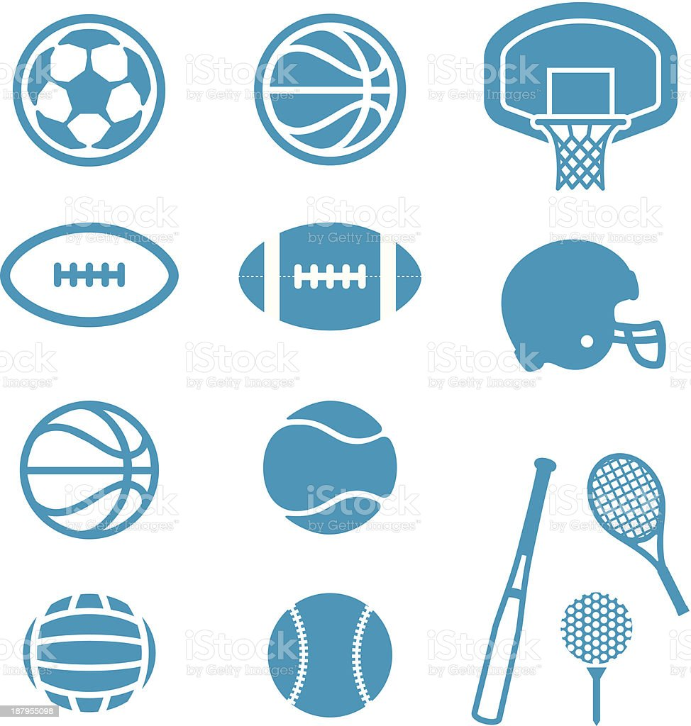 Sports Equipment and Balls icons vector art illustration
