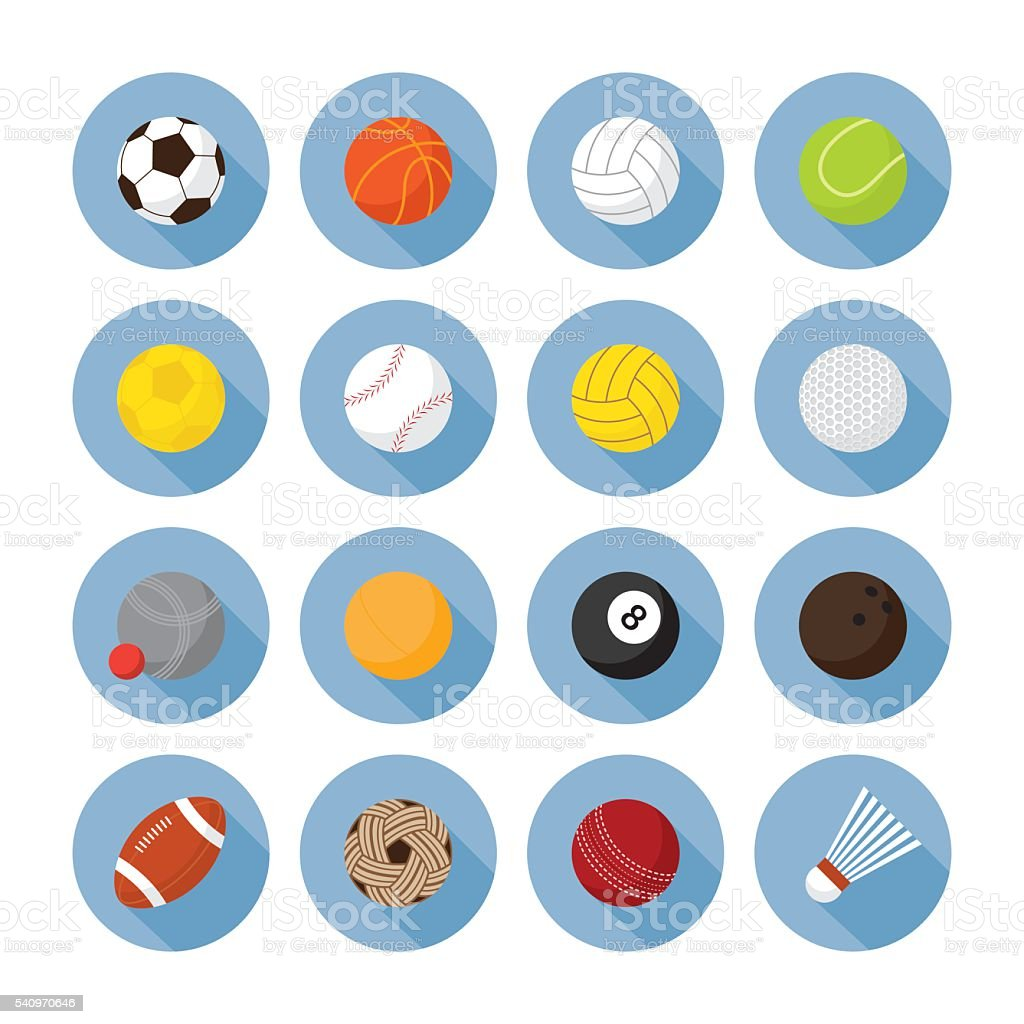 Sports Equipment, Ball Flat Icons Set vector art illustration