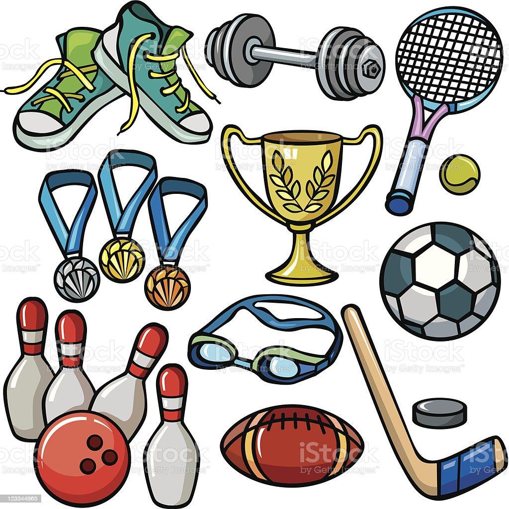 Sports equipment icon set royalty-free stock vector art