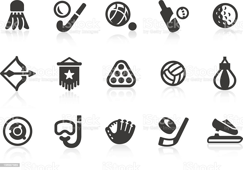 Sports equipment silhouette icon set vector art illustration