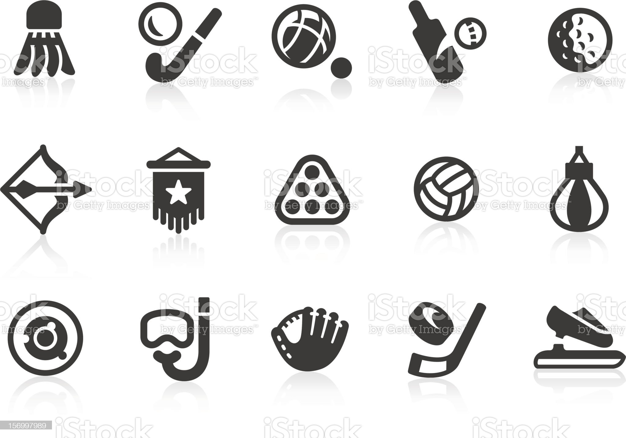 Sports equipment silhouette icon set royalty-free stock vector art