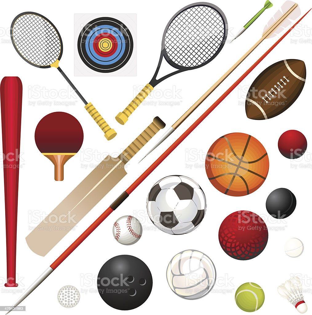 Sports Equipment vector art illustration