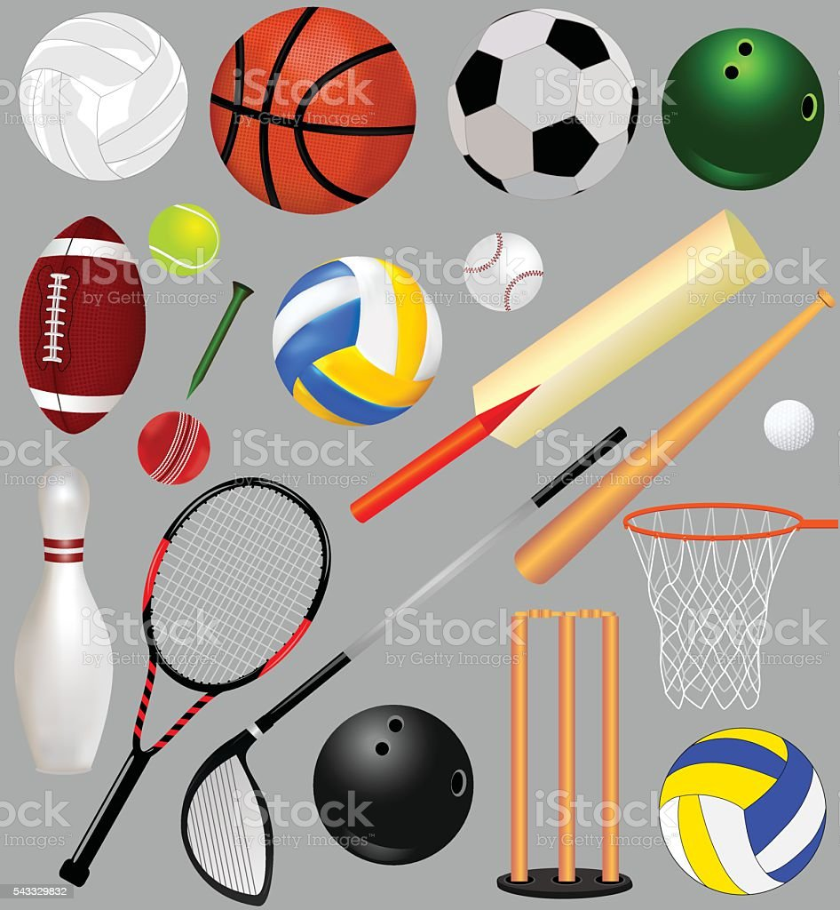 Sports Equipment vector art illustration