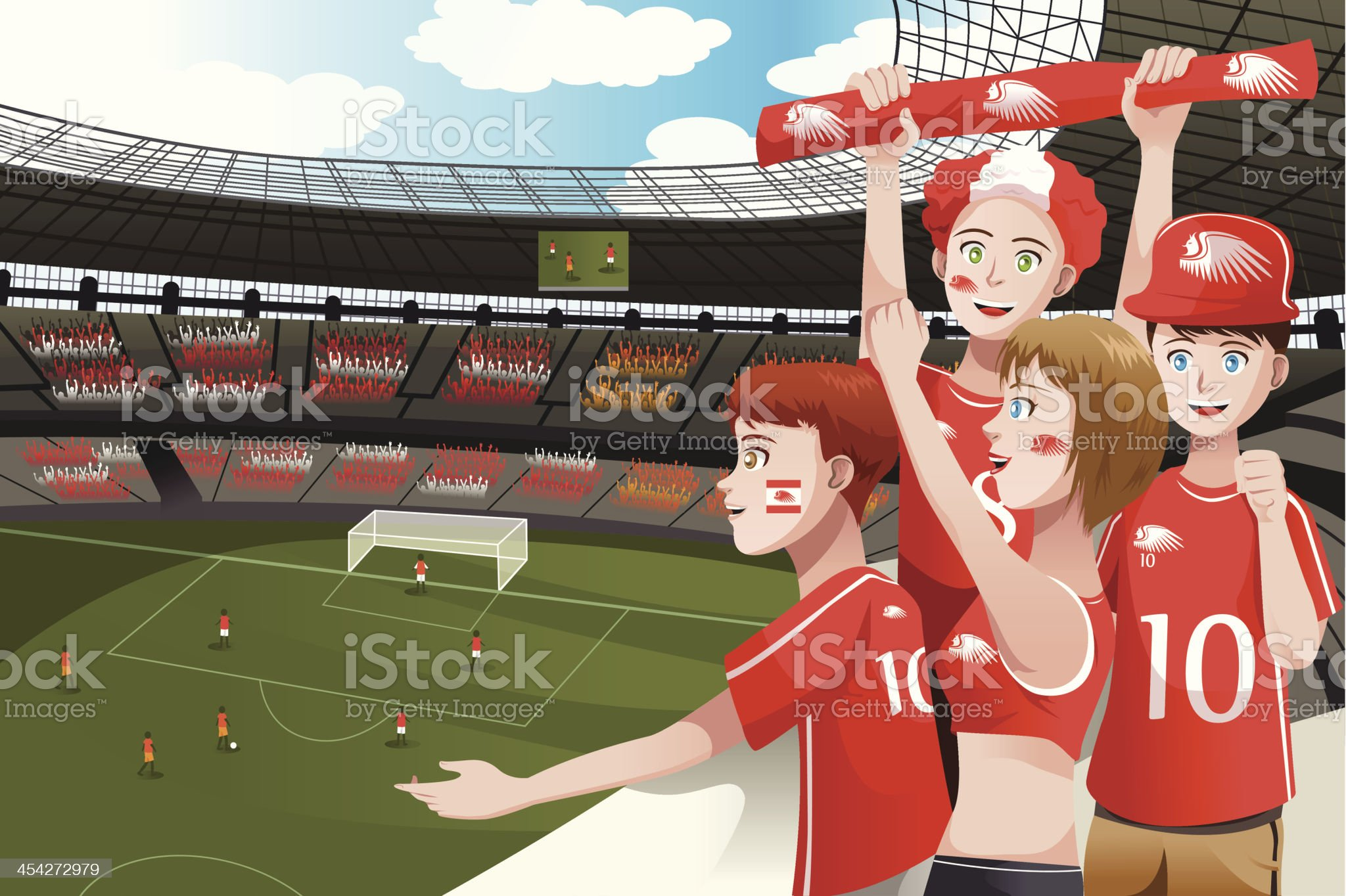 Sports fans in a stadium royalty-free stock vector art