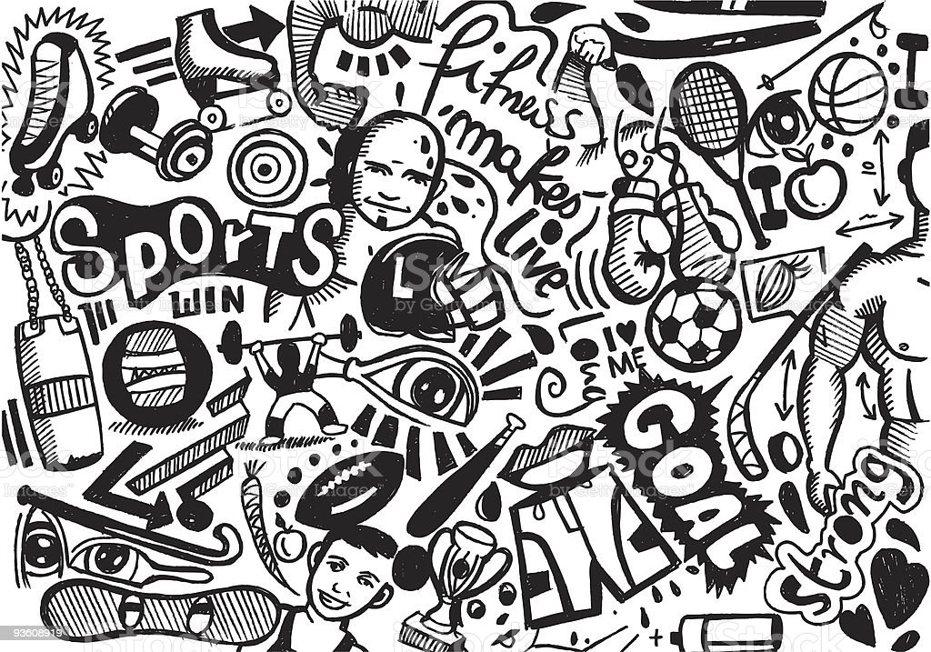 sports & fitness doodle royalty-free stock vector art