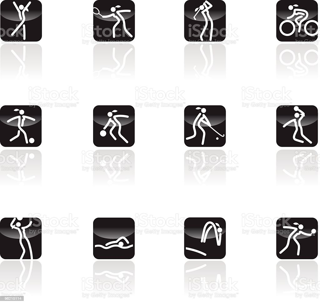 Sports for Woman icon set royalty-free stock vector art