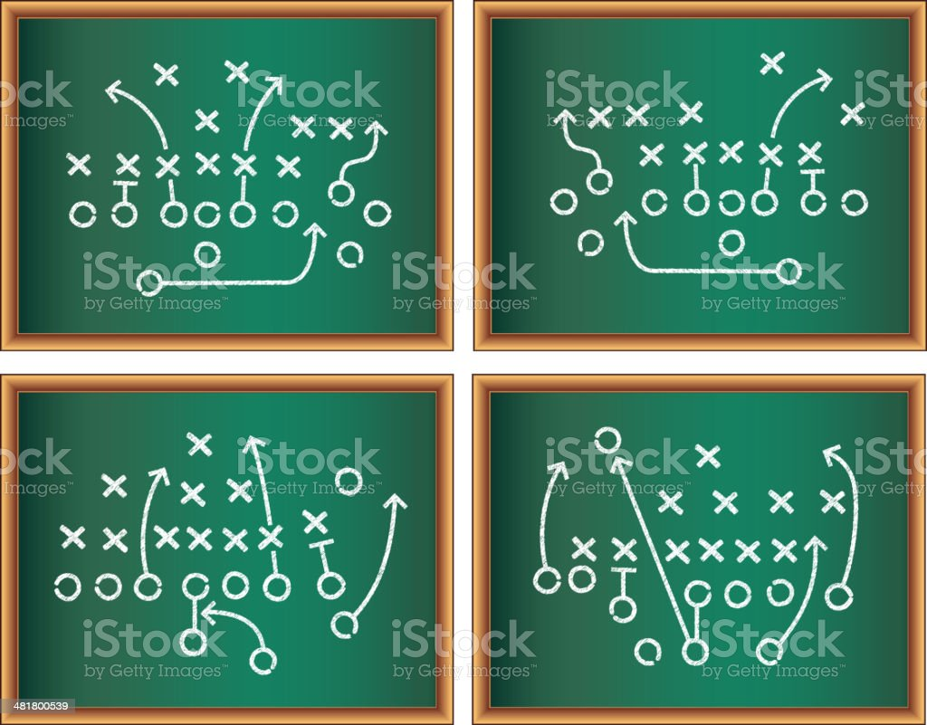Sports Game Plan on Blackboard vector art illustration