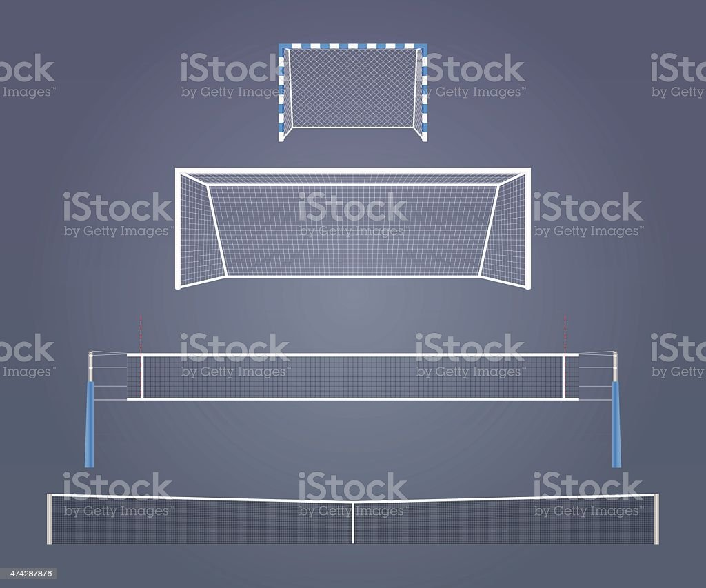 Sports gates and nets vector art illustration