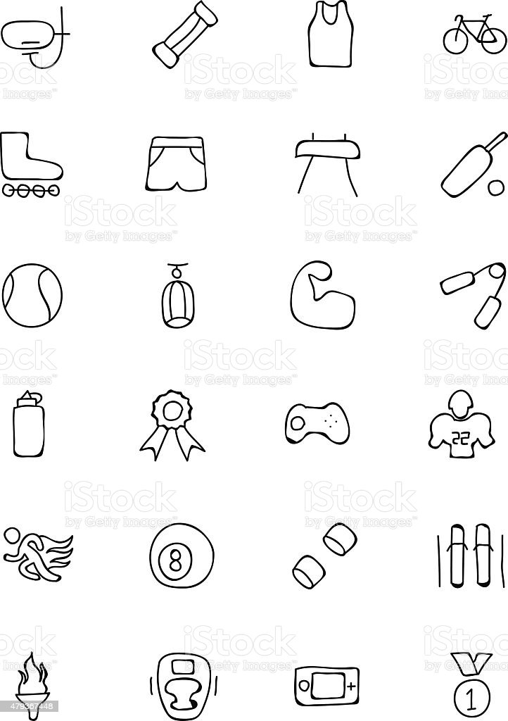 Sports Hand Drawn Doodle Icons 2 vector art illustration