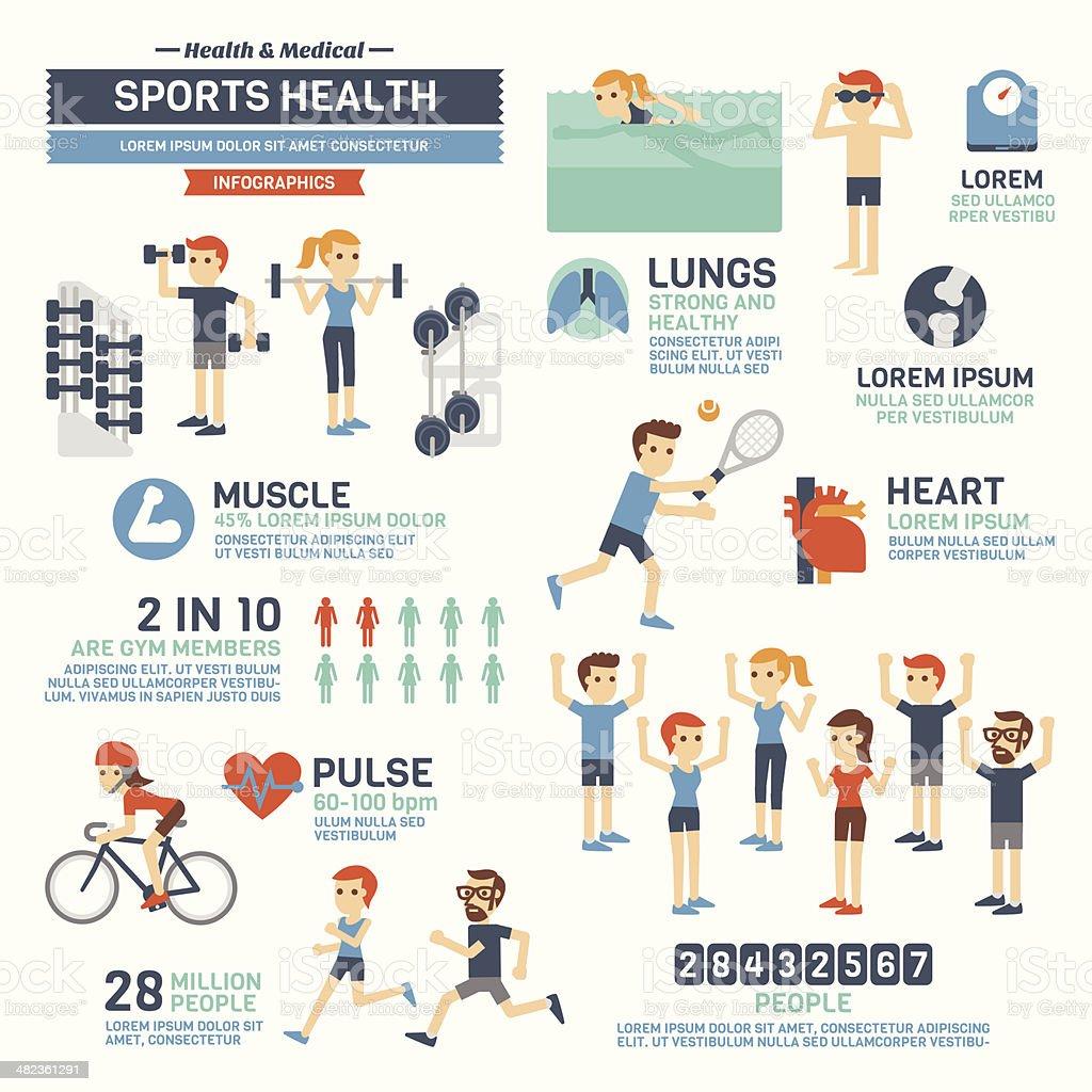 Sports Health Infographics vector art illustration