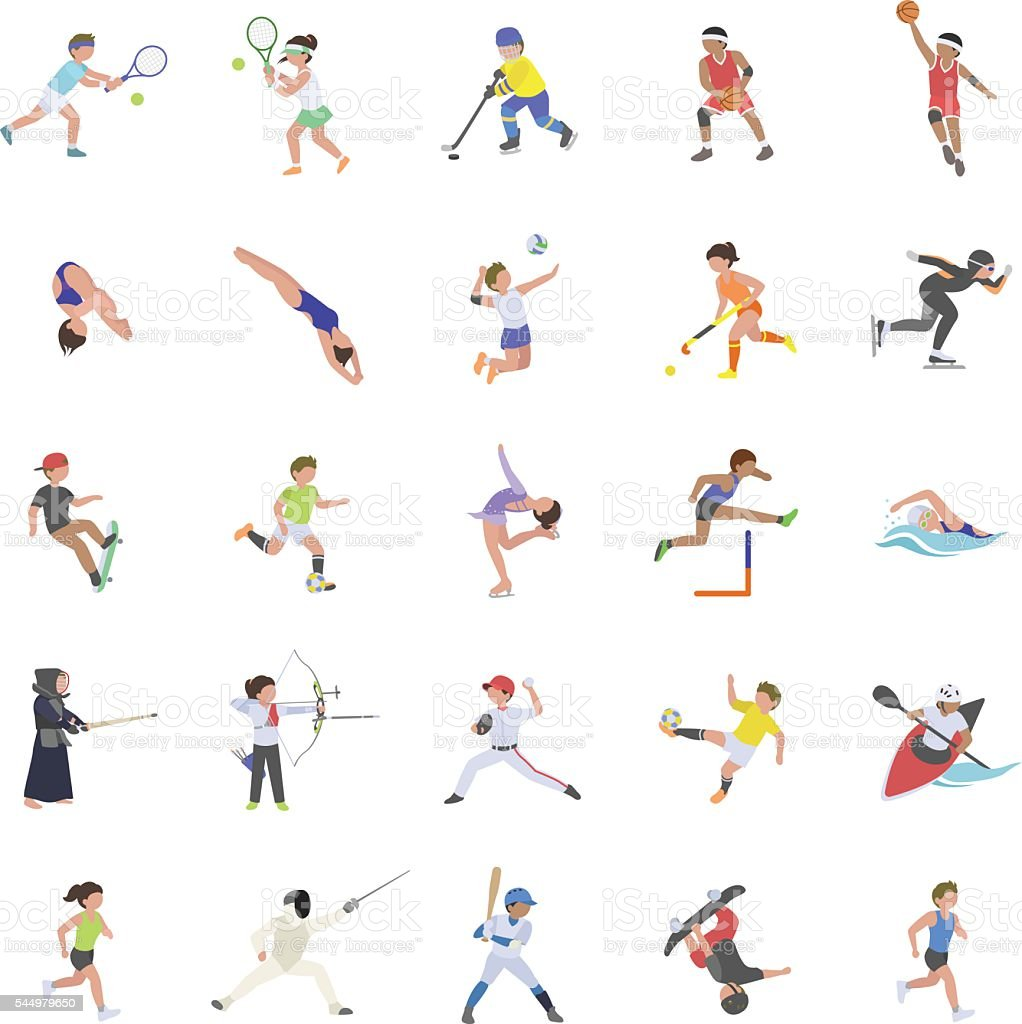 Sports I color vector icons vector art illustration
