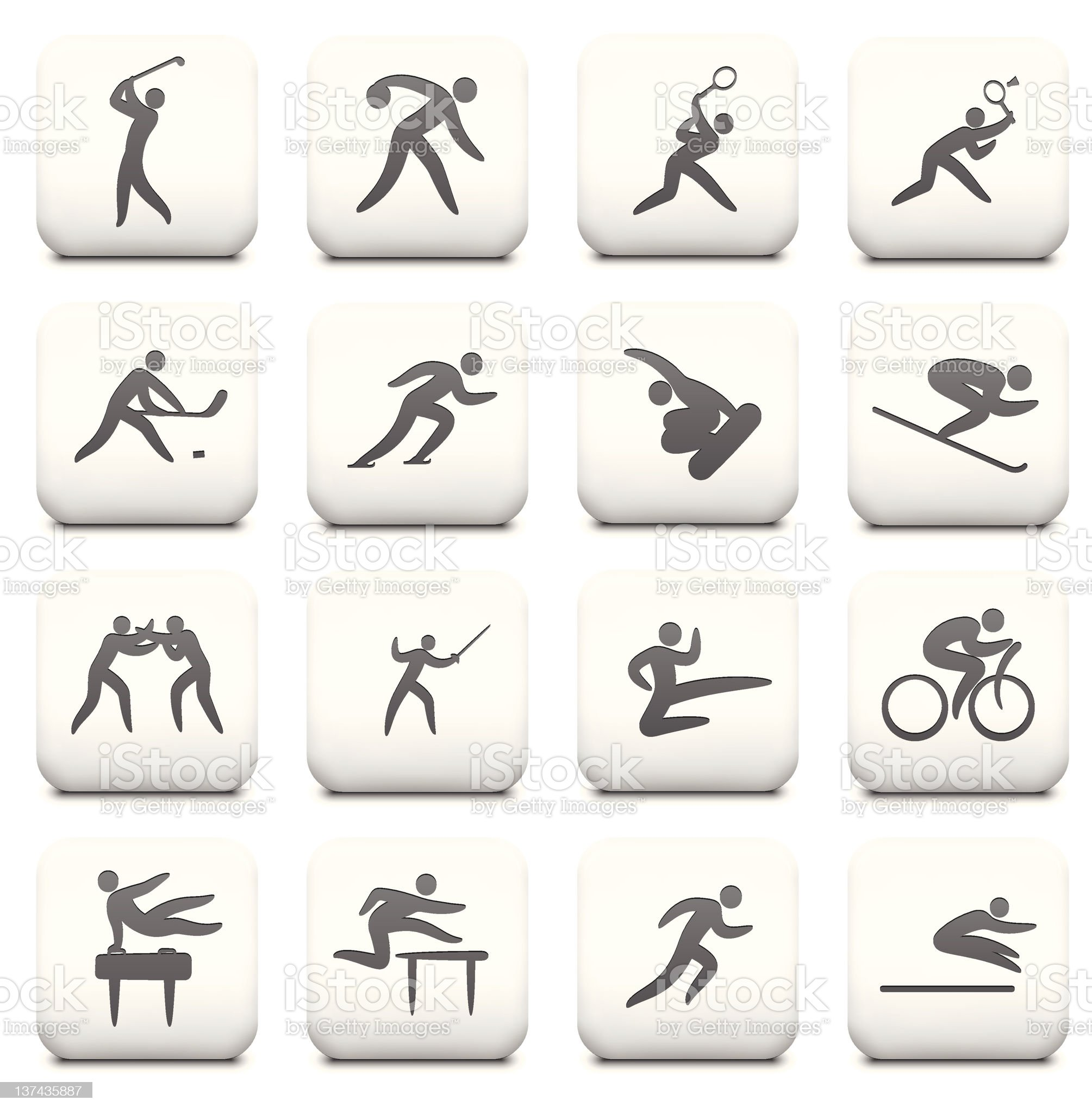 Sports Icon Collection on White Buttons royalty-free stock vector art