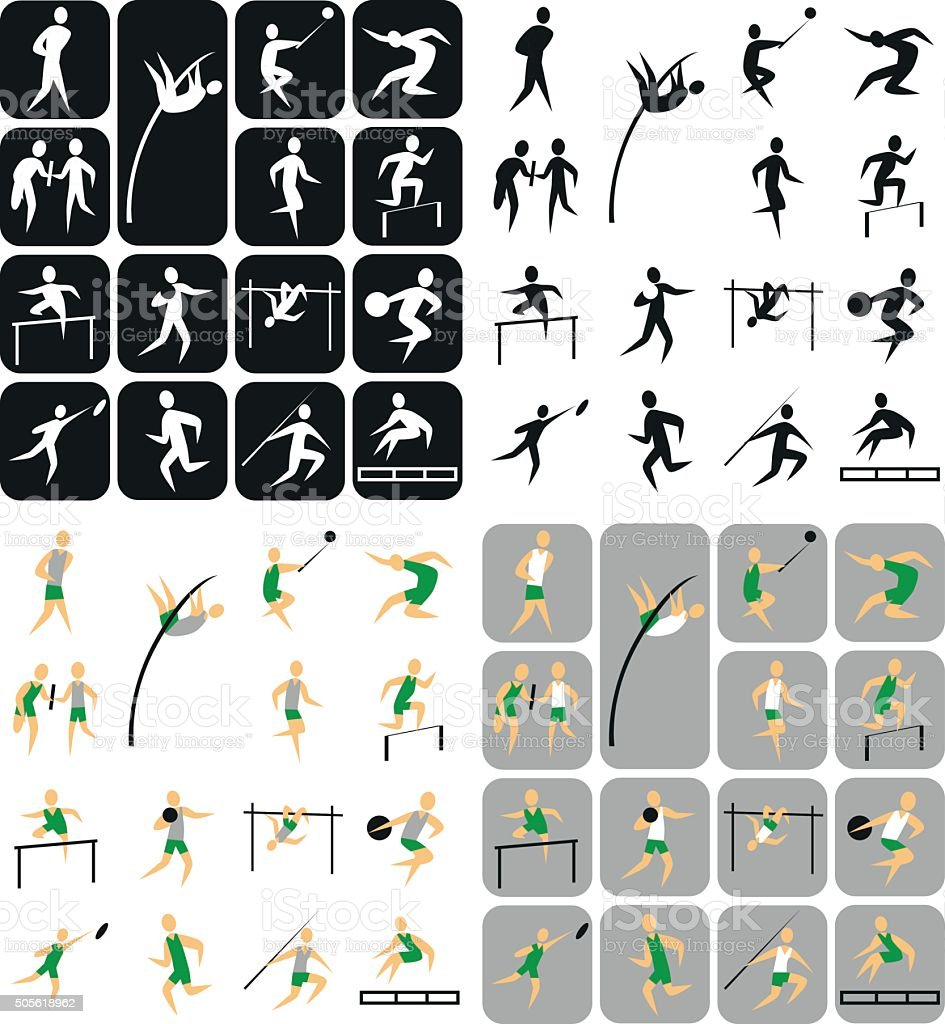 sports icons Athletics vector art illustration