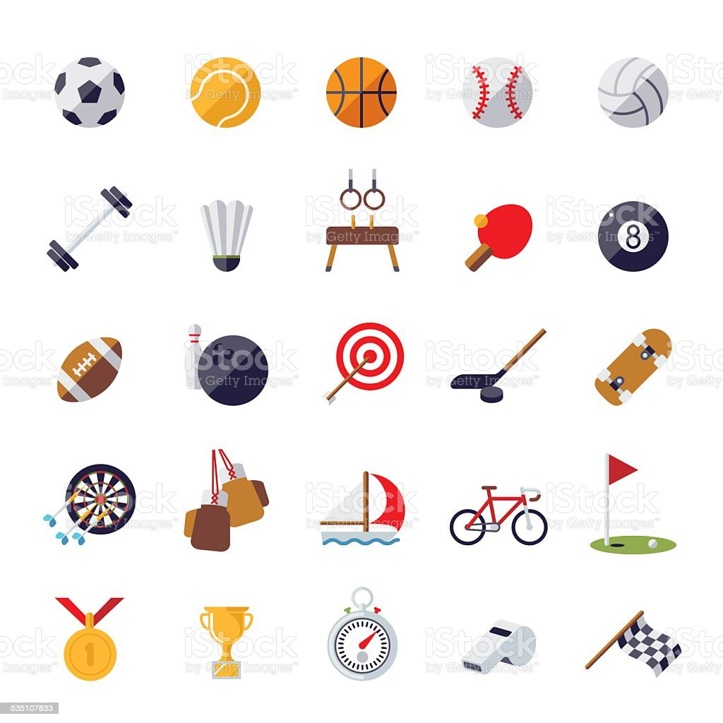 Sports icons flat design isolated vector set. vector art illustration