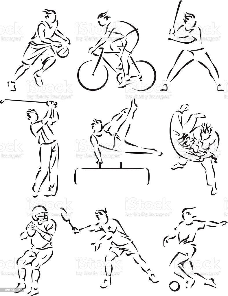 Sports icons illustration set royalty-free stock vector art