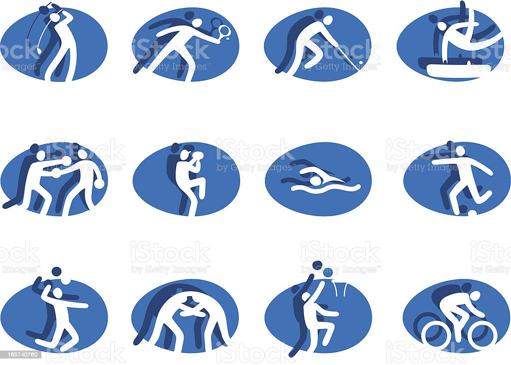 Sports icons set blue royalty-free stock vector art